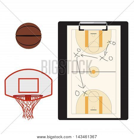 Vector illustration basketball icon set with basketball ball and hoop. Team sport. Basketball tactic on clipboard. Basketball tactic board. Writing a basketball game strategy on a blackboard. Tactic plan