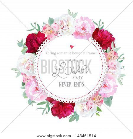 Romantic red white and pink peonies alstroemeria lily eucalyptus leaves round vector frame. All elements are isolated and editable.