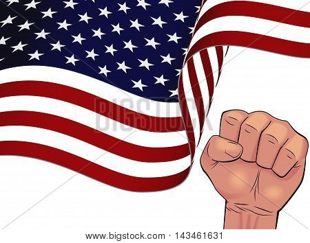 Waving USA flag bottom half and man hand squeeze in fist isolated on white background.