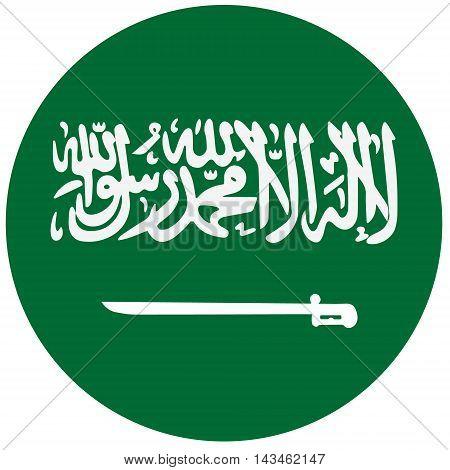 Vector illustration flag of Saudi Arabia. Round national flag of Saudi Arabia. Saudi Arabia flag button