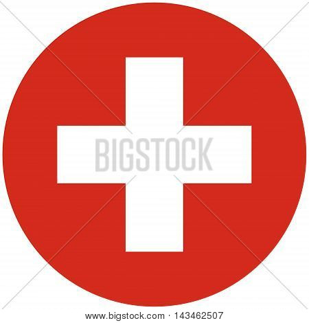 Vector illustration round flag of Switzerland country. Swiss flag. Button or badge