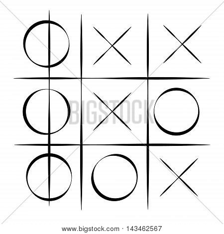Vector illustration tic tac toe simple game. XO game. Hand drawn tictactoe game