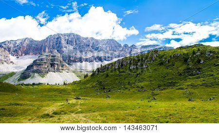 View of a green plateau in the Dolomites of Trentino Italy