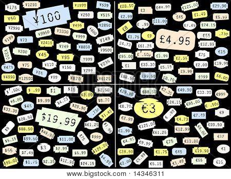 Satz von Grundpreis-Aufkleber in Dollar, Pfund Sterling, Euro und yen