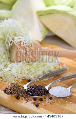 Food fermentation, preparation for making sauerkraut: Sliced white cabbage, caraway seeds, juniper berries,  salt and a pounder