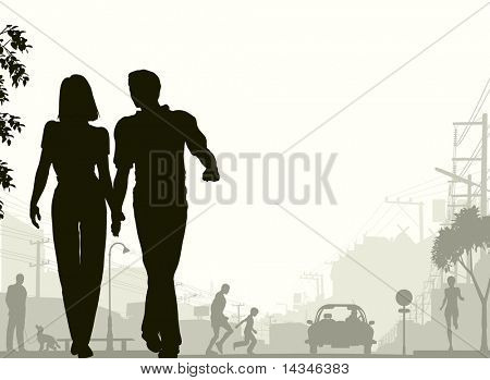 Editable vector silhouette of a couple walking down a street with all silhouette elements as separate objects.