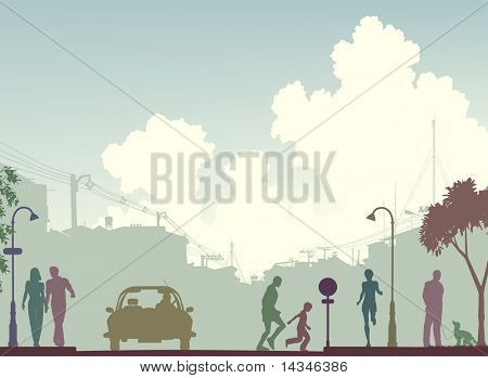 Editable vector silhouette of a busy street with all elements as separate objects.