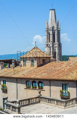 Bell tower of Basilica of Sant Feliu of Gerona Costa Brava Catalonia Spain.