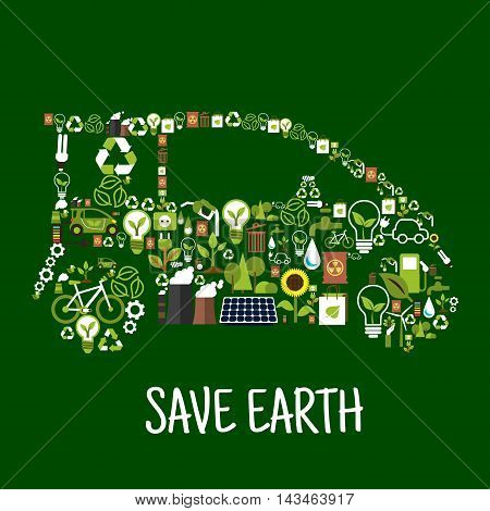 Eco car conceptual symbol composed of green energy wind turbine and solar panel, recycling signs, light bulbs with green leaves, electric cars, bio fuel, water, plants, trees, flowers, industrial plants pollution and radioactive wastes flat icons