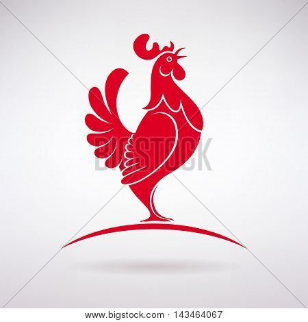 stylized red rooster crows on a light background