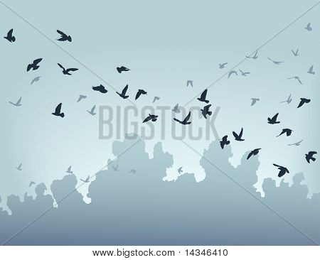 Ilustração em vetor de um bando de pássaros voando
