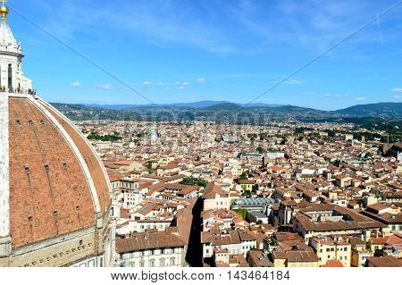 Panorama of city rooftops from Campanille in Florence, Italy