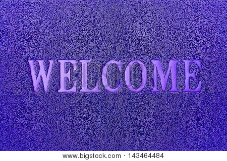 Welcome Blue Door Mat. Welcome Carpet Background. Welcome Blue Sign.