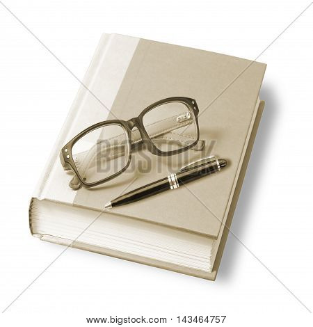 book with glasses and pen. isolated on white background vintage style