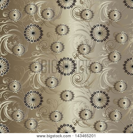 Gold modern abstract floral vector seamless pattern background with vintage beautiful flowers and ornaments. Luxury illustration and royal 3d decor elements with shadow and highlights. Endless elegant  texture.