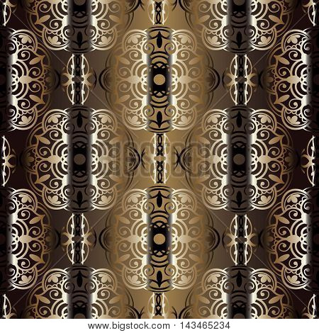 Royal elegant vector seamless pattern background with vintage stylish ornaments in Eastern style. Luxury illustration and royal 3d decor elements with shadow and highlights. Endless elegant  texture.