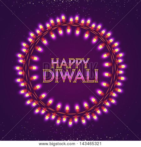 Beautiful festive circular border made by decorative lightings, Vector elegant illustration for Indian Festival of Lights, Happy Diwali Celebration.