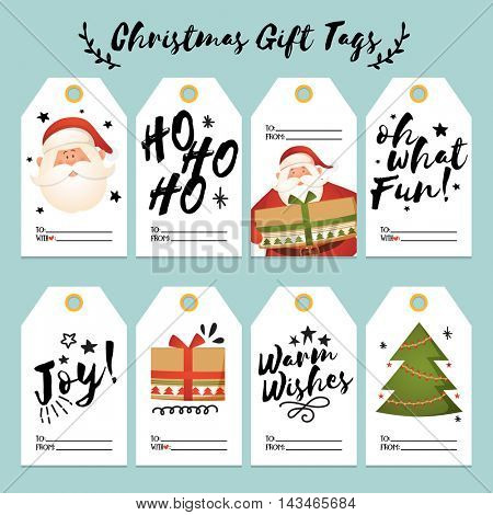 Set of creative Christmas Gift Tags and Labels with space for your text, Merry Christmas typography, character and elements collection, Vector illustration.