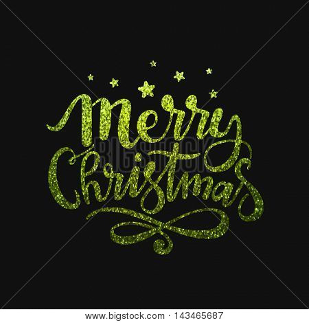 Creative sparkling inscription Merry Christmas on black background, Green glitter lettering design, Beautiful background for Greeting Card, Invitation, Poster, Banner, Flyer etc.