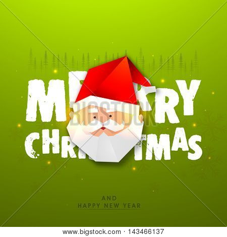Creative illustration of Santa Claus Face made by paper, Shiny green typographic background, Elegant Poster, Banner or Flyer for Merry Christmas and Happy New Year celebration.