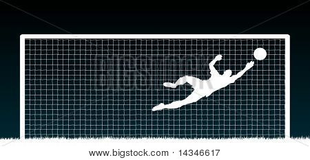 Editable vector illustration of a soccer goalkeeper making a save