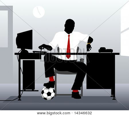 Editable vector illustration of an office worker with a football looking at his watch