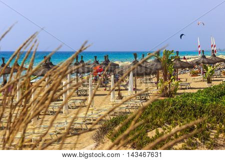 Torre San Giovanni beach. ITALY(Apulia).It is popular and very crowded in the summer thanks to the beauty of its emerald green sea and its beaches that are sandy to the South and rocky to the Nord.