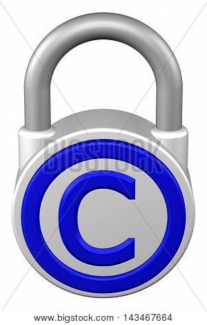 Concept: padlock with sign copyright. Isolated on white background. 3D rendering.