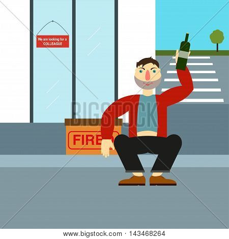 Fired alcoholic sitting near the building where he worked before