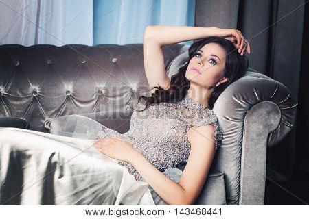 Attractive beautiful Woman Fashion Model Dreaming wtih black hair