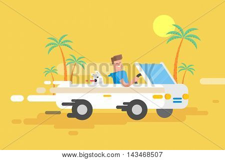 Stock vector illustration happy guy drives a white convertible, man and his dog rushes by car among a palm trees on a yellow background in a flat style