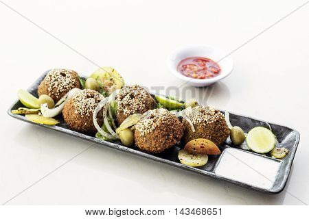 chickpea falafel traditional middle eastern food snack platter starter set