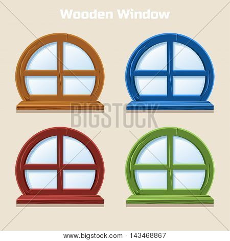 Cartoon Wooden round Colorful Window, Home Interior in vector