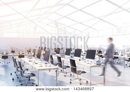 Businessman going to his workplace in big city office with glass roof. Concept of early bird. 3d rendering. Mock up. Toned image