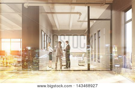 Businesspeople talking in office interior. Conference room with whiteboard on wall. Concept of brainstorming. 3d rendering. Mock up. Toned image. Double exposure