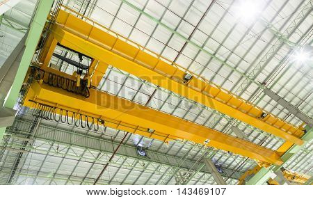 overhead traveling crane in a construction hall