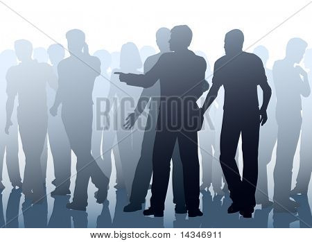 Editable vector illustration of two men working together as pickpockets