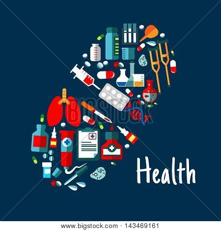 Pill symbol made up of flat icons of medicine bottles, capsules, syringe, tablets, laboratory test tubes and flasks, DNA, lungs and cells, medical checkup form, pipettes, crutches and enema