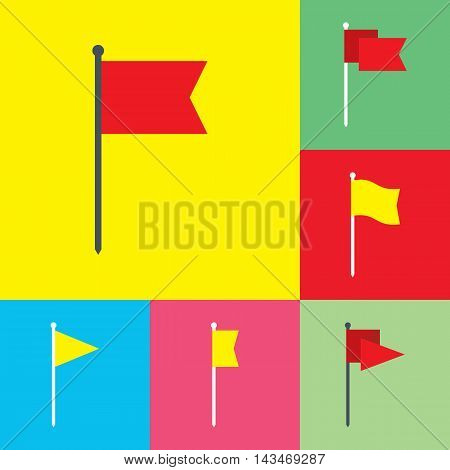 Flag vector icons flat design. Red and yellow flag icons in flat style. Flag flat symbols. Flag design element. EPS8 clean vector illustration.