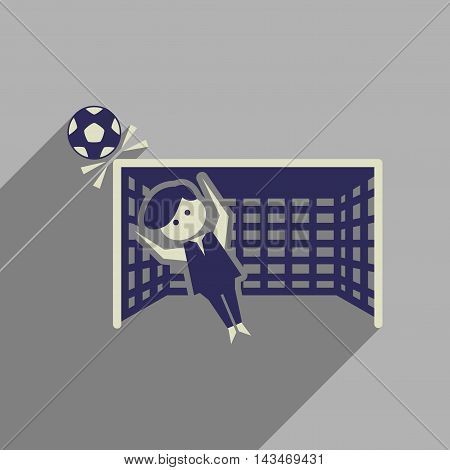 Flat web icon with long  shadow goalkeeper