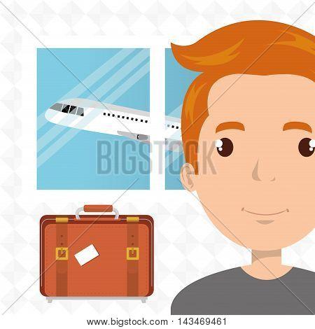 man suitcase airplane window vector illustration design