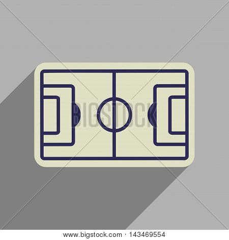 Flat web icon with long  shadow  football field