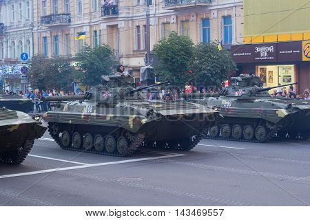 Kiev Ukraine - 19 August 2016: Motorized troops preparing for parade at Kreschatyk street which will take place on the 24-rd of August dedicated to the 25-th anniversary of Independence of Ukraine.