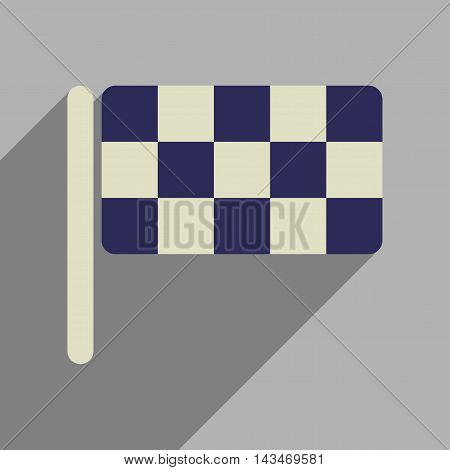 Flat web icon with long  shadow  checkered flag