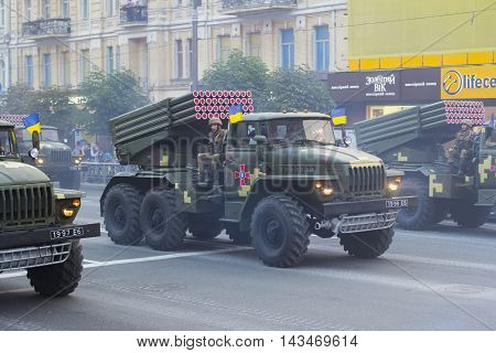 Kiev Ukraine - 19 August 2016: Artillery (BM-21 Grad) parade repetition for the 25-th anniversary of Independence of Ukraine.