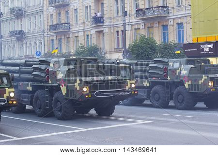 Kiev Ukraine - 19 August 2016: Artillery (BM-30 Smerch) parade repetition for the 25-th anniversary of Independence of Ukraine.