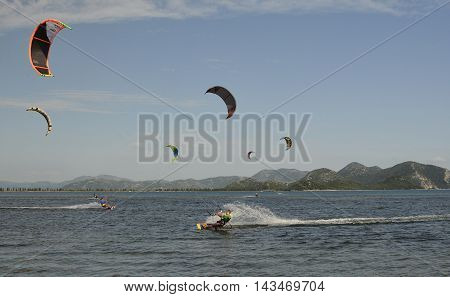 Blace Croatia - June 18th 2016. Students practice kkite surfing at a kite surfing school near the coastal Croatian village of Blace.