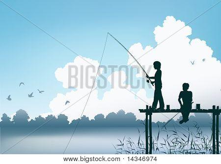 Cena de vetoriais editáveis de dois meninos de pesca de um cais de madeira