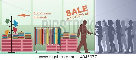 Editable vector illustration of people waiting for a sale at a store