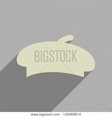 Flat web icon with long  shadow beret
